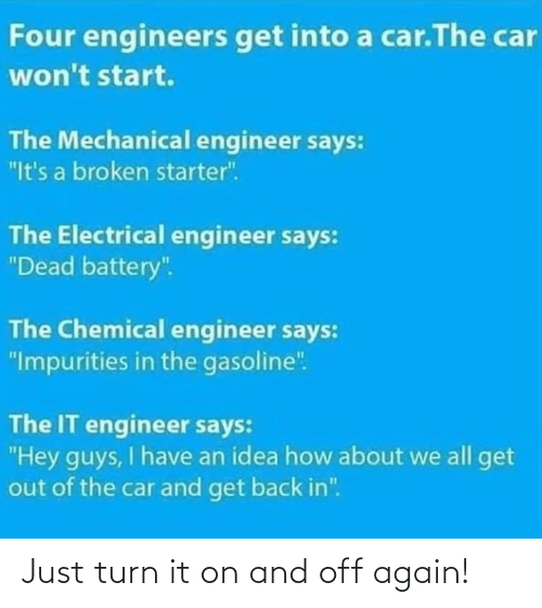 "Have An: Four engineers get into a car.The car  won't start.  The Mechanical engineer says:  ""It's a broken starter"".  The Electrical engineer says:  ""Dead battery"".  The Chemical engineer says:  ""Impurities in the gasoline"".  The IT engineer says:  ""Hey guys, I have an idea how about we all get  out of the car and get back in"". Just turn it on and off again!"
