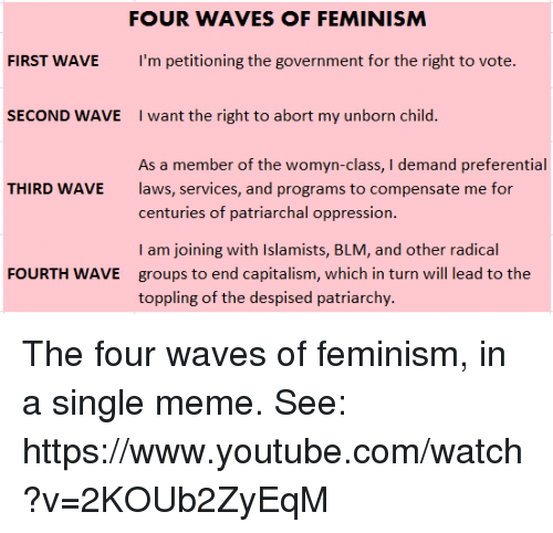 the unclear goal of the third wave of feminism The goal of this wave was to open up opportunities for women, with a focus on suffrage, the right to vote in political elections  the wave formally began at the seneca falls convention in 1848, when 300 men and women came to the cause of equality for women.