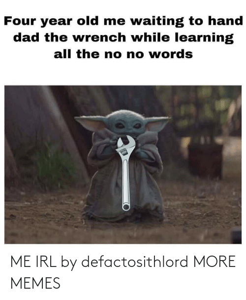 Learning: Four year old me waiting to hand  dad the wrench while learning  all the no no words  1N  whle ME IRL by defactosithlord MORE MEMES