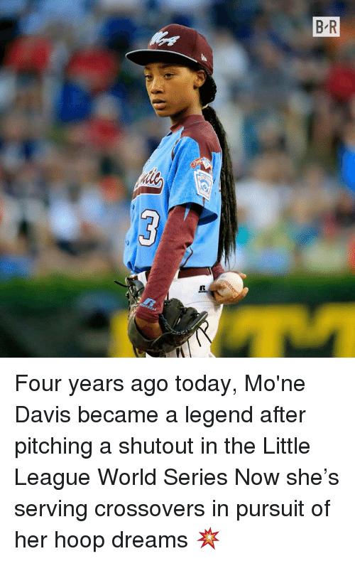 World Series: Four years ago today, Mo'ne Davis became a legend after pitching a shutout in the Little League World Series   Now she's serving crossovers in pursuit of her hoop dreams 💥
