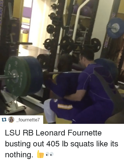 Sports, Squat, and Squats: fournette7 LSU RB Leonard Fournette busting out 405 lb squats like its nothing. 👍👀