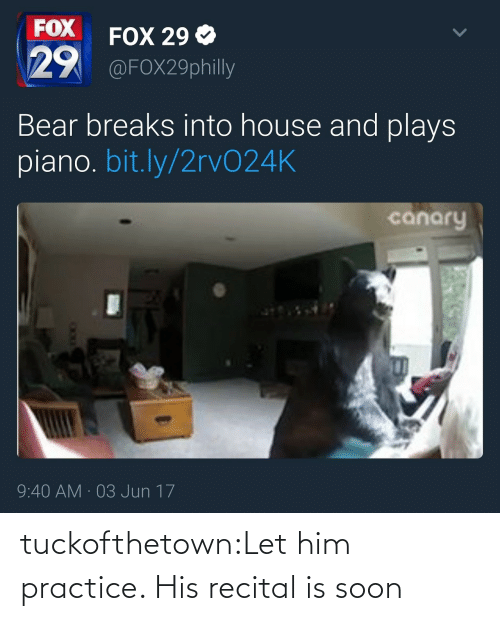 Piano: FOX  29  FOX 29 Ф  @FOX29philly  Bear breaks into house and plays  piano. bit.ly/2rvO24K  canary  9:40 AM 03 Jun 17 tuckofthetown:Let him practice. His recital is soon
