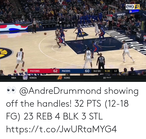 suns: FOX  GPORTS  GEICO  BELLE  TIRE  26  60  9:38  12  3rd Qtr  62  PACERS  PISTONS  NKE  10 PM ET  SUNS  KINGS  KaNGS  NBA 👀 @AndreDrummond showing off the handles!    32 PTS (12-18 FG)  23 REB 4 BLK 3 STL  https://t.co/JwURtaMYG4