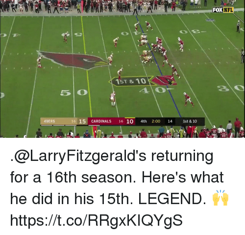 San Francisco 49ers, Memes, and Cardinals: FOX N  FL  1  1ST & 10  İL 15i CARDINALS  -2:00114 - 1st&10  49ERS  1610  10  ei  85 .@LarryFitzgerald's returning for a 16th season. Here's what he did in his 15th.   LEGEND. 🙌 https://t.co/RRgxKIQYgS