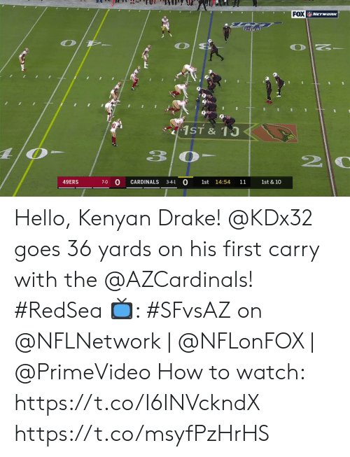 0 0: FOX NETwoRK  1ST & 10  3 0  0  CARDINALS  49ERS  14:54  7-0  3-4-1  1st  11  1st & 10 Hello, Kenyan Drake!  @KDx32 goes 36 yards on his first carry with the @AZCardinals! #RedSea  📺: #SFvsAZ on @NFLNetwork | @NFLonFOX | @PrimeVideo How to watch: https://t.co/I6INVckndX https://t.co/msyfPzHrHS