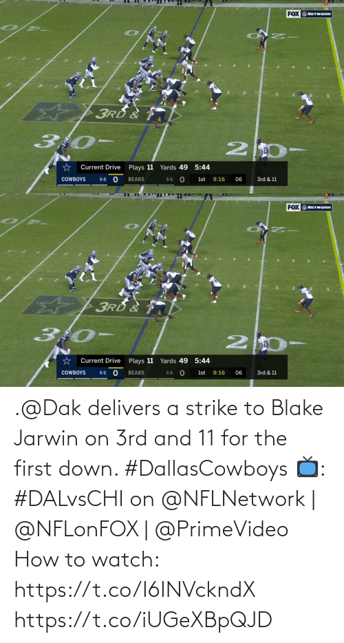 Dallas Cowboys, Memes, and Bears: FOX NETWORK  3RD  3:0-  Yards 49 5:44  Current Drive  Plays 11  6-6 0  BEARS  1st  COWBOYS  9:16  06  3rd & 11  6-6   FOX NETWORK  3RD &  Current Drive  Plays 11 Yards 49 5:44  BEARS  9:16  3rd & 11  COWBOYS  6-6  1st  06  6-6 .@Dak delivers a strike to Blake Jarwin on 3rd and 11 for the first down. #DallasCowboys  📺: #DALvsCHI on @NFLNetwork | @NFLonFOX | @PrimeVideo How to watch: https://t.co/I6INVckndX https://t.co/iUGeXBpQJD