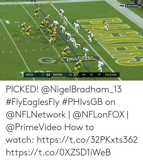 Philadelphia Eagles, Memes, and Goal: FOX NETWORK  G 2ND&GGAL  1-2 34  3-0 27  EAGLES  PACKERS  4th  28  09  2nd & Goal PICKED! @NigelBradham_13 #FlyEaglesFly  #PHIvsGB on @NFLNetwork | @NFLonFOX | @PrimeVideo How to watch: https://t.co/32PKxts362 https://t.co/0XZSD1iWeB