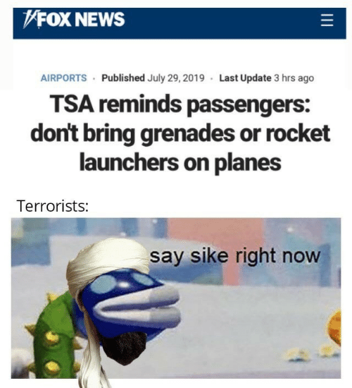News, Fox News, and Fox: FOX NEWS  AIRPORTS Published July 29, 2019 Last Update 3 hrs ago  TSA reminds passengers:  don't bring grenades or rocket  launchers on planes  Terrorists:  say sike right now