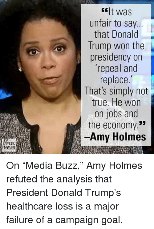 """Trump Won: FOX  NEWS  It was  unfair to say  that Donald  Trump won the  presidency on  'repeal and  replace.  That's simply not  true. He won  on jobs and  the economy  Amy Holmes On """"Media Buzz,"""" Amy Holmes refuted the analysis that President Donald Trump's healthcare loss is a major failure of a campaign goal."""