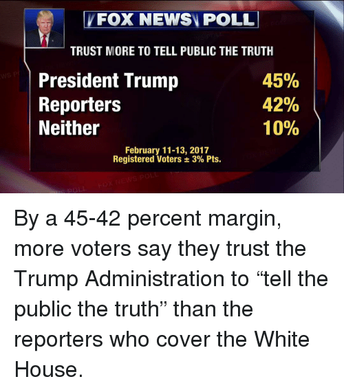 """Marginalize: FOX NEWSN POLL  TRUST MORE TO TELL PUBLIC THE TRUTH  45%  President Trump  42%  Reporters  10%  Neither  February 11-13, 2017  Registered Voters 3% Pts. By a 45-42 percent margin, more voters say they trust the Trump Administration to """"tell the public the truth"""" than the reporters who cover the White House."""