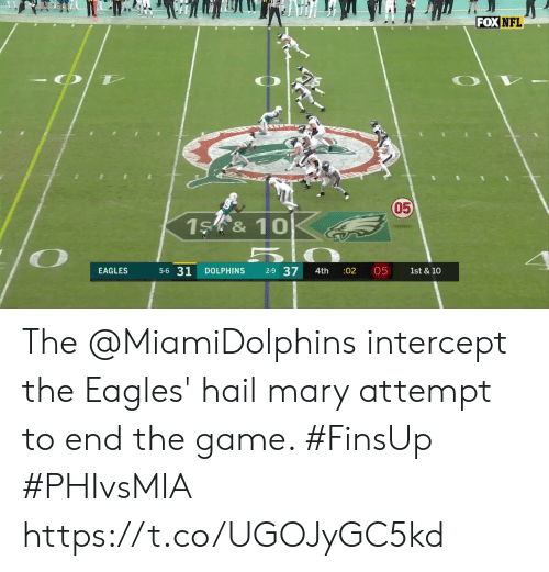 Philadelphia Eagles: FOX NFL  050  1S &10  5-6 31  2-9 37  05  EAGLES  DOLPHINS  :02  1st & 10  4th The @MiamiDolphins intercept the Eagles' hail mary attempt to end the game. #FinsUp #PHIvsMIA https://t.co/UGOJyGC5kd