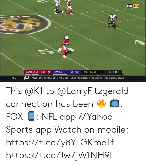 trey: FOX NFL  1-0 20  CARDINALS  4th 14:45  RAVENS  1st & 10  O-O-1  Chris Thompson: 4 rec, 32 yds Trey Quinn: 3 rec, 2  NFL  WAS ush, 25 yds, 1 TD; 2 rec, 7 yds This @K1 to @LarryFitzgerald connection has been 🔥  📺: FOX 📱: NFL app // Yahoo Sports app Watch on mobile: https://t.co/y8YLGKmeTf https://t.co/Jw7jW1NH9L