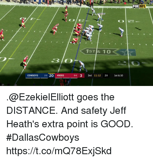 San Francisco 49ers, Dallas Cowboys, and Memes: FOX  NFL  1ST & 10  COWBOYS 23 20 49ERS  0-6 3 3rd 11:12 2 1st & 10 .@EzekielElliott goes the DISTANCE.  And safety Jeff Heath's extra point is GOOD. #DallasCowboys https://t.co/mQ78ExjSkd