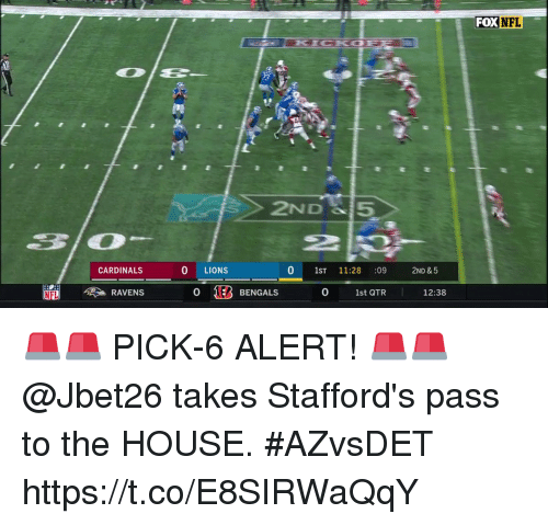 Passe: FOX  NFL  2ND 5  2P  2  CARDINALS  0 LIONS  0 1ST 11:28 :09 2ND &5  RAVENS  0 183 BENGALS  0  1st QTR  12:38 🚨🚨 PICK-6 ALERT! 🚨🚨  @Jbet26 takes Stafford's pass to the HOUSE. #AZvsDET https://t.co/E8SIRWaQqY