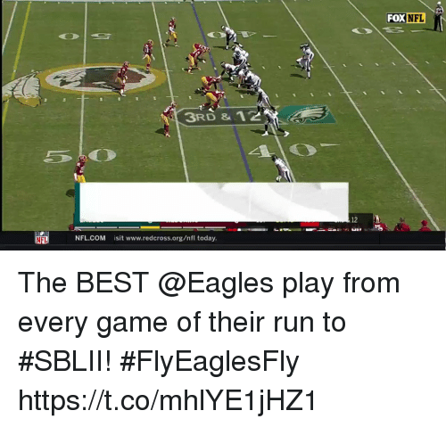 Philadelphia Eagles, Memes, and Nfl: FOX NFL  3RD &12  12  uRP  NFL  NFL.COM sit www.redcross.org/nfl today The BEST @Eagles play from every game of their run to #SBLII! #FlyEaglesFly https://t.co/mhlYE1jHZ1