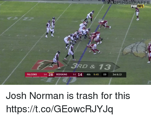 Norman: FOX  NFL  3RD & 13  FALCONS 34 28 REDSKINS 5-2 14 4th 9:45 09 3rd & 13 Josh Norman is trash for this  https://t.co/GEowcRJYJq