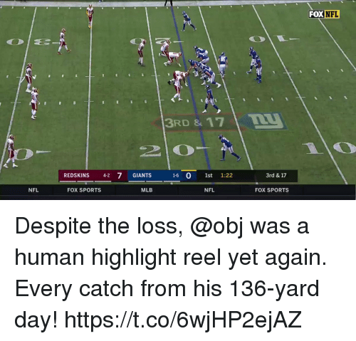 fox sports: FOX  NFL  3RD & 17  REDSKINS 4-2 7 GIANTS 16 0 1st 1:22  3rd & 17  NFL  FOX SPORTS  MLB  NFL  FOX SPORTS Despite the loss, @obj was a human highlight reel yet again.  Every catch from his 136-yard day! https://t.co/6wjHP2ejAZ