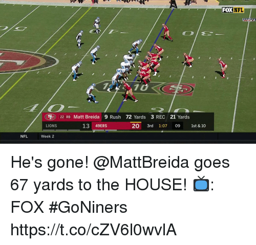 San Francisco 49ers, Memes, and Nfl: FOX NFL  710  ( ) 22 RB Matt Breda 9 Rush 72 Yards 3 REC 21 Yards  LIONS  13 49ERS  20 3rd 1:07 09 1st & 10  NFL  Week 2 He's gone! @MattBreida goes 67 yards to the HOUSE!  📺: FOX #GoNiners https://t.co/cZV6l0wvlA