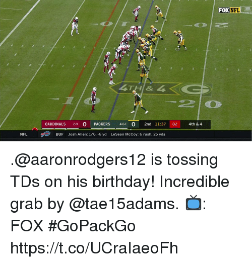 Birthday, Memes, and Nfl: FOX NFL  CARDINALS 2-9 O PACKERS 4-61  2nd 11:37 02 4th & 4  NFL  BUF  Josh Allen: 1/6, -6 yd  LeSean McCoy: 6 rush, 25 yds .@aaronrodgers12 is tossing TDs on his birthday!  Incredible grab by @tae15adams.  📺: FOX #GoPackGo https://t.co/UCraIaeoFh