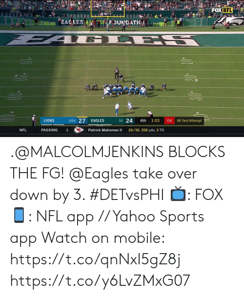 Philadelphia Eagles, Memes, and Nfl: FOX NFL  EAC LES A S FDUNDATIC  L ES  1-0-1 27  46 Yard Attempt  1-1 24  LIONS  EAGLES  04  4th  1:53  NFL  PASSING  1  Patrick Mahomes II  26/36, 358 yds, 3 TD .@MALCOLMJENKINS BLOCKS THE FG!  @Eagles take over down by 3. #DETvsPHI  📺: FOX 📱: NFL app // Yahoo Sports app Watch on mobile: https://t.co/qnNxI5gZ8j https://t.co/y6LvZMxG07