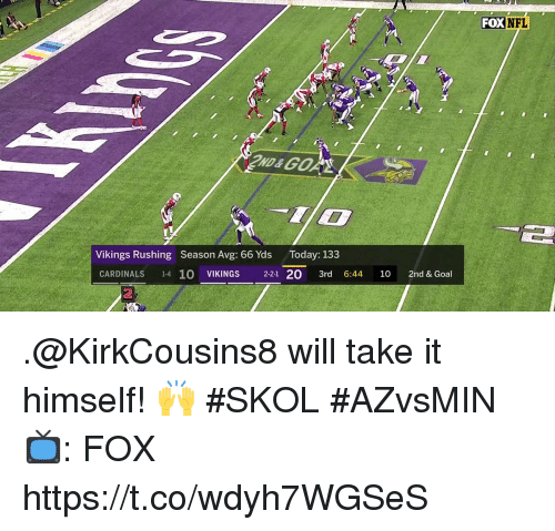 Memes, Nfl, and Cardinals: FOX  NFL  IO  Vikings Rushing Season Avg: 66 Yds Today: 133  CARDINALS 1-4 10 VIKINGS 2-21 20 3rd 6:44 10 2nd & Goal  2 .@KirkCousins8 will take it himself! 🙌  #SKOL #AZvsMIN   📺: FOX https://t.co/wdyh7WGSeS