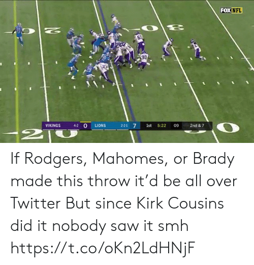 Kirk Cousins: FOX NFL  N  30  4-2 O  VIKINGS  LIONS  2-2-1 7  1st  5:22  09  2nd & 7  2T If Rodgers, Mahomes, or Brady made this throw it'd be all over Twitter  But since Kirk Cousins did it nobody saw it smh https://t.co/oKn2LdHNjF