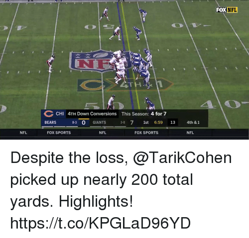 Bailey Jay, Memes, and Nfl: FOX NFL  NF  CHI 4TH Down Conversions This Season: 4 for 7  BEARS 8-3 0 GIANTS 3-8 71st 6:59 13  4th & 1  NFL  FOX SPORTS  NFL  FOX SPORTS  NFL Despite the loss, @TarikCohen picked up nearly 200 total yards. Highlights! https://t.co/KPGLaD96YD