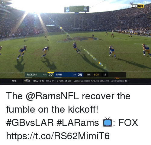 kickoff: FOX  NFL  PACKERS 3-21 27 RAMS  70 29 4th 2:05 16  NFL BAL (4-4) TD, 2 INT; 2 rush, 14 yds Lamar Jackson: 4/5, 46 yds, 1TD Alex Collins: 11 r The @RamsNFL recover the fumble on the kickoff! #GBvsLAR #LARams  📺: FOX https://t.co/RS62MimiT6
