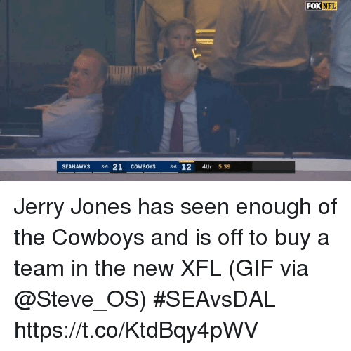 Jerry Jones: FOX  NFL  SEAHAWKS 86 21 COWBOYS 86 12 4th 5:39 Jerry Jones has seen enough of the Cowboys and is off to buy a team in the new XFL  (GIF via @Steve_OS) #SEAvsDAL https://t.co/KtdBqy4pWV