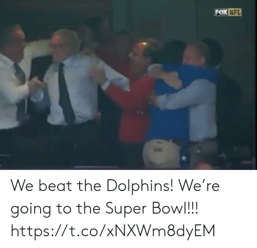 The Super Bowl: FOX NFL We beat the Dolphins! We're going to the Super Bowl!!! https://t.co/xNXWm8dyEM