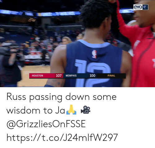Memes, Sports, and Houston: FOX  SPORTS  107  100  HOUSTON  MEMPHIS  FINAL Russ passing down some wisdom to Ja🙏  🎥 @GrizzliesOnFSSE  https://t.co/J24mlfW297