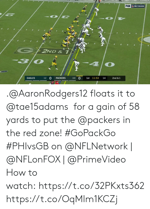 gain: FOX WETWORK  G2ND & 1  30  4  3-0 0  EAGLES  PACKERS  1st 11:53  14  2nd &1  1-2 .@AaronRodgers12 floats it to @tae15adams  for a gain of 58 yards to put the @packers in the red zone! #GoPackGo  #PHIvsGB on @NFLNetwork | @NFLonFOX | @PrimeVideo How to watch: https://t.co/32PKxts362 https://t.co/OqMlm1KCZj