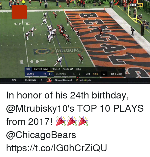 Bernard: FOXNFL  Gl  1  11ST&GOAL  CHI Current Drive Plays 8 Yards 72 5:14  BEARS 39 12 BENGALS 57 7 3rd 4:59 07 1st & Goal  RUSHING 6 Giovani Bernard 10 rush, 61 yds In honor of his 24th birthday, @Mtrubisky10's TOP 10 PLAYS from 2017! 🎉🎉🎉 @ChicagoBears https://t.co/IG0hCrZiQU