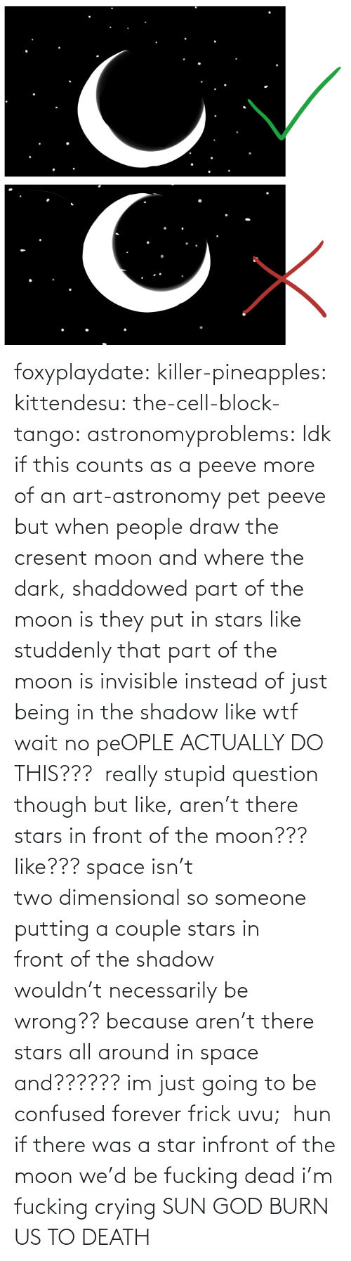 In Space: foxyplaydate: killer-pineapples:  kittendesu:  the-cell-block-tango:  astronomyproblems:  Idk if this counts as a peeve more of an art-astronomy pet peeve but when people draw the cresent moon and where the dark, shaddowed part of the moon is they put in stars like studdenly that part of the moon is invisible instead of just being in the shadow like wtf  wait no peOPLE ACTUALLY DO THIS???   really stupid question though but like, aren't there stars in front of the moon??? like??? space isn't two dimensional so someone putting a couple stars in front of the shadow wouldn't necessarily be wrong?? because aren't there stars all around in space and?????? im just going to be confused forever frick uvu;   hun if there was a star infront of the moon we'd be fucking dead  i'm fucking crying    SUN GOD BURN US TO DEATH