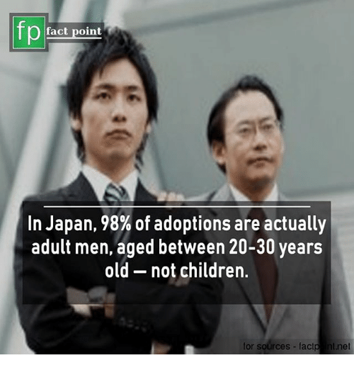 30 Years Old: fp  fact point  In Japan, 98% of adoptions are actually  adult men, aged between 20-30 years  old - not children.  for sources-factp nt.net