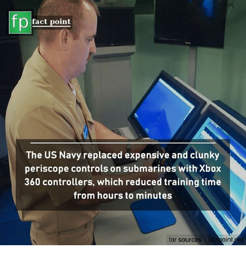Xbox 360: fp  fact point  The US Navy replaced expensive and clunky  periscope controls on submarines with Xbox  360 controllers, which reduced training time  rom hours to minutes  for sources  int