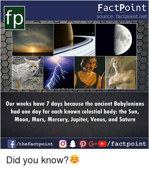 Sun Moon: fp  FactPoint  source: factpoint.net  Our weeks have 7 days because the ancient Babylonians  had one day for each known celestial body: the Sun,  Moon, Mars, Mercury, Jupiter, Venus, and Saturn  /the factpoint Did you know?☺