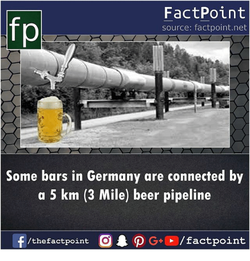 Beer, Memes, and Connected: fp  FactPoint  source: factpoint.net  Some bars in Germany are connected by  a 5 km (3 Mile) beer pipeline  /thefactpoint