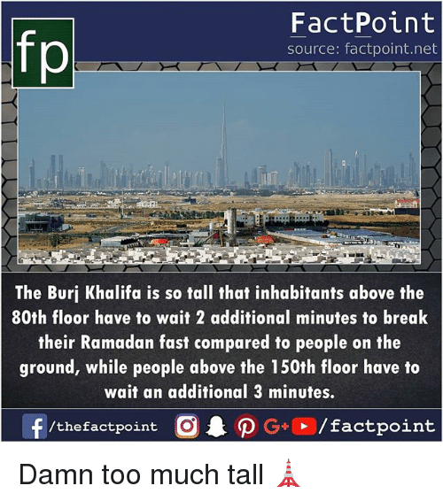 Ramadan: fp  FactPoint  source: factpoint.net  The Burj Khalifa is so tall that inhabitants above the  80th floor have to wait 2 additional minutes to break  their Ramadan fast compared to people on the  ground, while people above the 150th floor have to  wait an additional 3 minutes  /thefactpoint O Damn too much tall 🗼