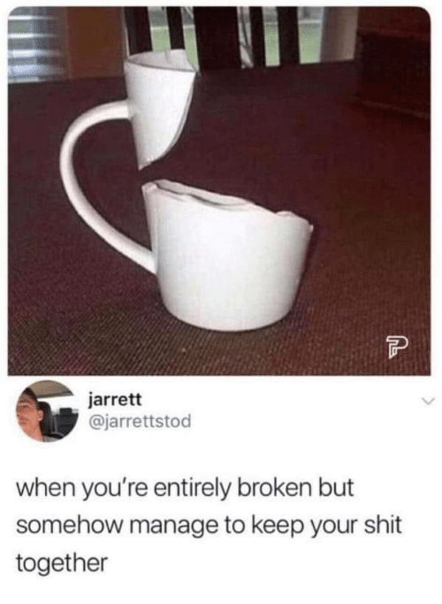 Shit, Youre, and Together: FP  jarrett  @jarrettstod  when you're entirely broken but  somehow manage to keep your shit  together
