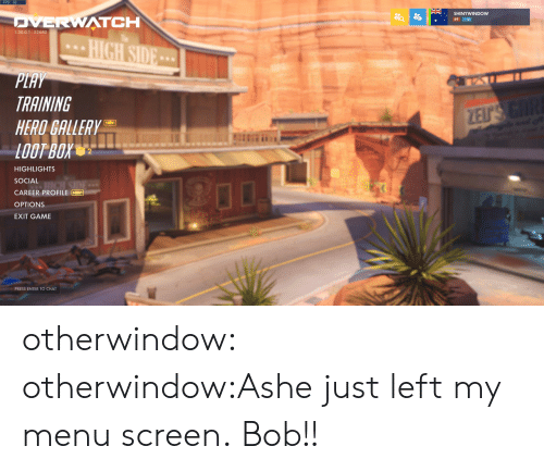 fps: FPS: 56  ERWATCH  69 10  1.30.0.1-52680  TRAINING  HERO GALLERY  entin  HIGHLIGHTS  SOCIAL  CAREER PROFILE  OPTIONS  EXIT GAME  0  PRESS ENTER TO CHAT otherwindow:  otherwindow:Ashe just left my menu screen. Bob!!