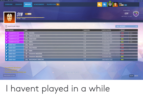 rialto: FPS: 58  TMP: 53 C  8:34 PM  SYN  PLAYER ICON NEW  STATISTICS  ACHIEVEMENTS  OVERVIEW  REPLAYS  22  3  GAMES WON  SYN  6,154  3  22  TIME PLAYED: 1,612 HRS  19130 20000  ALL MODES  RESETS EVERY PATCH  GAME MODE  DURATION  MATCH PLAYED  RESULT  MAP  YCOMPETITIVE PLAY  LOSS  HAVANA  19:27  5 MINUTES AGO  2-3  YCOMPETITIVE PLAY  TEMPLE OF ANUBIS  LOSS  8:40  28 MINUTES AGO  0-1  COMPETITIVE PLAY  KING'S ROW  WIN  7:42  46 MINUTES AGO  1-0  COMPETITIVE PLAY  WIN  NEPAL  8:39  58 MINUTES AGO  2-0  QUICK PLAY  RIALTO  LOSS  9:08  1 HOUR AGO  QUICK PLAY  HOLLYWOOD  LOSS  5:56  1 HOUR AGO  QUICK PLAY  PARIS  LOSS  4:48  1 HOUR AGO  QUICK PLAY  VOLSKAYA INDUSTRIES  LOSS  5:55  16 HOURS AGO  QUICK PLAY  VOLSKAYA INDUSTRIES  WIN  5:08  16 HOURS AGO  QUICK PLAY  WIN  WATCHPOINT: GIBRALTAR  9:28  2589 WEEKS AGO  You endorsed OliverQuinn!  You endorsed Ebion!  The invitation was successfully sent  EW REPLAY  PRESS ENTER TO CHAT  BACK  ESCAPE  O 001 I havent played in a while