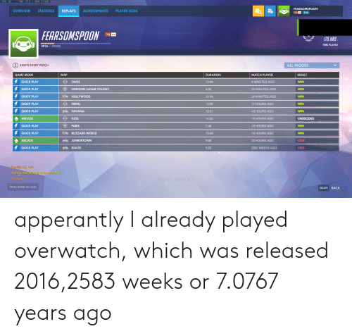 rialto: FPS: 59  TMP: 67 C  VRM: 510 MB  FEARSOMSPOON  OVERVIEW  STATISTICS  REPLAYS  ACHIEVEMENTS  PLAYER ICON  16 3  FEARSOMSPOON  16*  175 HRS  TIME PLAYED  3826/20000  RESETS EVERY PATCH  ALL MODES  GAME MODE  MAP  DURATION  RESULT  MATCH PLAYED  QUICK PLAY  OASIS  WIN  13:32  4 MINUTES AGO  QUICK PLAY  HORIZON LUNAR COLONY  WIN  4:56  20 MINUTES AGO  O HOLLYWOOD  QUICK PLAY  wIN  10:54  28 MINUTES AGO  QUICK PLAY  NEPAL  WIN  13:08  17 HOURS AGO  QUICK PLAY  HAVANA  WIN  10:01  18 HOURS AGO  ARCADE  ILIOS  14:03  UNDECIDED  19 HOURS AGO  QUICK PLAY  PARIS  wIN  7:48  19 HOURS AGO  O BLIZZARD WORLD  QUICK PLAY  19 HOURS AGO  WIN  10:48  ARCADE  JUNKERTOWN  LOSS  9:08  23 HOURS AGO  QUICK PLAY  RIALTO  LOSS  5:52  2583 WEEKS AGO  Irmellyb12]: GG  Kanna has left the voice channel.  EW REPLAY  Naillian]: Ez  PRESS ENTER TO CHAT  BACK  ESCAPE apperantly I already played overwatch, which was released 2016,2583 weeks or 7.0767 years ago