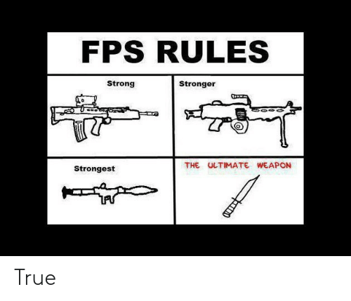 fps: FPS RULES  Strong  Stronger  THE ULTIMATE WEAPON  Strongest True