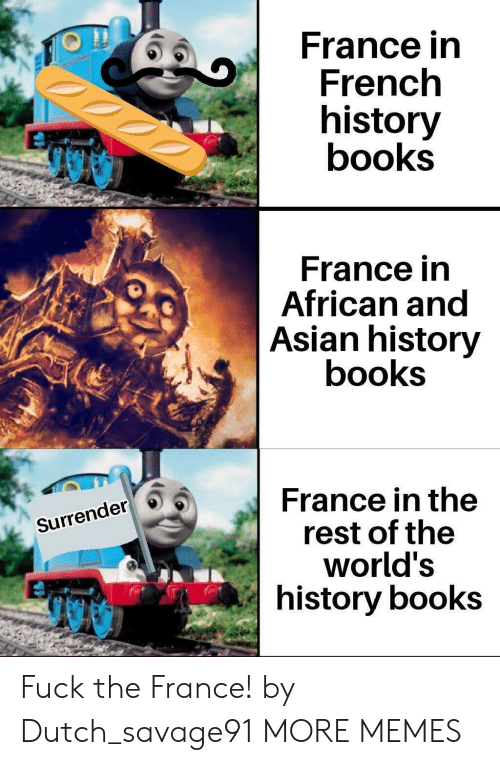 Surrender: France in  French  history  books  France in  African and  Asian history  books  France in the  rest of the  world's  history books  Surrender Fuck the France! by Dutch_savage91 MORE MEMES