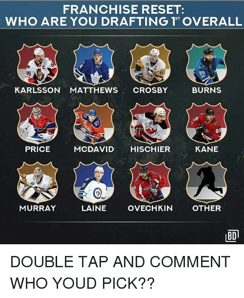 Memes, 🤖, and Kane: FRANCHISE RESET:  ST  di  KARLSSON MATTHEWS CROSBY  BURNS  PRICE  MCDAVID HISCHIER  KANE  MURRAY  LAINE  OVECHKIN  OTHER  BD DOUBLE TAP AND COMMENT WHO YOUD PICK??