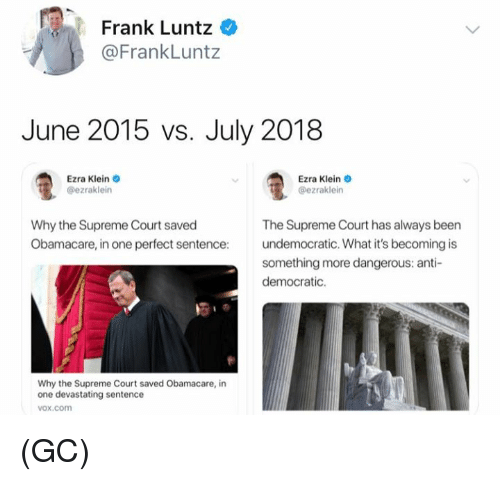 ezra klein: Frank Luntz  @FrankLuntz  June 2015 vs. July 2018  Ezra Klein  @ezraklein  Ezra Klein o  @ezraklein  Why the Supreme Court saved  Obamacare, in one perfect sentence:  The Supreme Court has always been  undemocratic. What it's becoming is  something more dangerous: anti-  democratic.  Why the Supreme Court saved Obamacare, in  one devastating sentence  vox.com (GC)