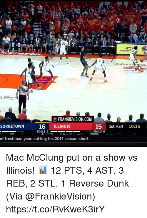 Illinois: FRANKIEVISION.COM  16 ILLINOIS  15 1st Half 10:15  FOULS: 6  EORGETOWN  of freshman year, cutting his 2017 season short Mac McClung put on a show vs Illinois!   📊 12 PTS, 4 AST, 3 REB, 2 STL, 1 Reverse Dunk   (Via @FrankieVision)   https://t.co/RvKweK3irY