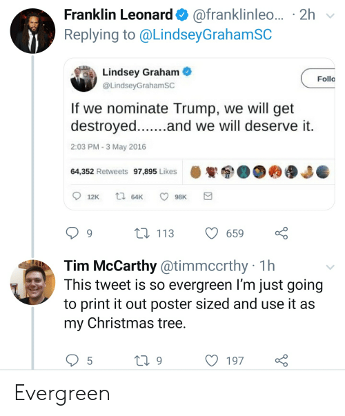 lindsey graham: Franklin Leonard@franklinleo... 2h  Replying to @LindseyGrahamSC  Lindsey Graham  Folla  @LindseyGrahamSC  If we nominate Trump, we will get  destroyed....and we will deserve it  2:03 PM 3 May 2016  64,352 Retweets 97,895 Likes  ti 64K  12K  98K  L113  9  659  Tim McCarthy @timmccrthy 1h  This tweet is so evergreen I'm just going  to print it out poster sized and use it as  Christmas tree.  my  5  ti9  197 Evergreen