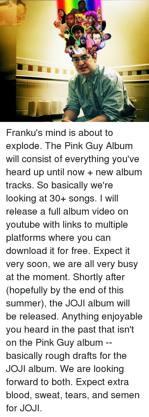 Pink Guy: Franku's mind is about to explode. The Pink Guy Album will consist of everything you've heard up until now + new album tracks. So basically we're looking at 30+ songs. I will release a full album video on youtube with links to multiple platforms where you can download it for free. Expect it very soon, we are all very busy at the moment. Shortly after (hopefully by the end of this summer), the JOJI album will be released. Anything enjoyable you heard in the past that isn't on the Pink Guy album -- basically rough drafts for the JOJI album. We are looking forward to both. Expect extra blood, sweat, tears, and semen for JOJI.